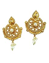 Lalso South Indian White AD Zircon Pearl Bridal Earrings For Wedding, Diwali, Festival, Navratri, Party, Gift - LAE46_MT