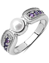 1.18CTW Genuine Pearl & Amethyst .925 Sterling Silver Solitaire Ring