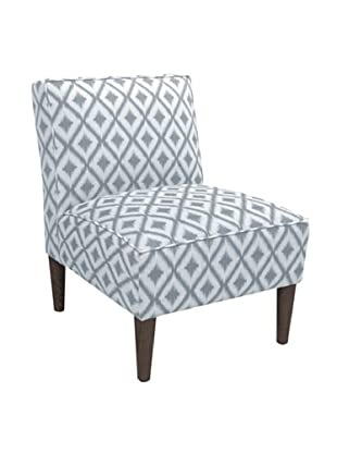 Skyline Armless Chair, Ikat Fret Pewter
