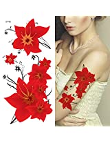 Supperb Temporary Tattoos Sexy Red Flowers
