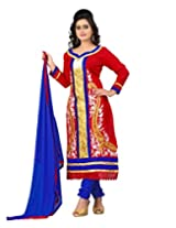 Lookslady Embroidered Red Cotton Semi Stitched Salwar Suit