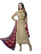 Alicolours Womens Georgette Resham A-Line Unstitched Dress Material (Fiona309 _Beige)