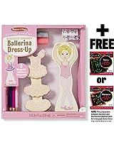 Ballerina: Magnetic Wooden Dress Up Set + Free Melissa & Doug Scratch Art Mini Pad Bundle [88572]