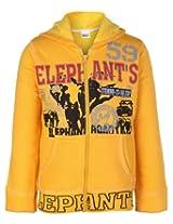 SAPS Full Sleeves Elephant Print Hooded Sweatshirt - Yellow