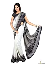 Faux Georgette and Chiffon Printed Saree In Black and White Colour