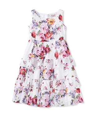 Monnalisa Girl's Floral Tiered Ruffle Dress (White)