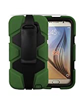Bracevor 4 in 1 Heavy Duty Armor Case Cover with rotating Belt clip holster Stand for Samsung Galaxy S6 (Military green)