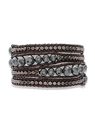 Lucie & Jade Echtleder-Armband Hämatit, Metallbeads dunkelbraun/anthrazit/silber