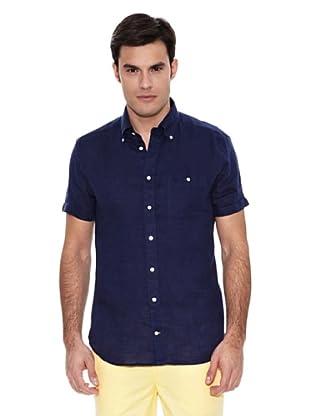 Pedro del Hierro Camisa Lino Liso Lavado (Azul Marino)