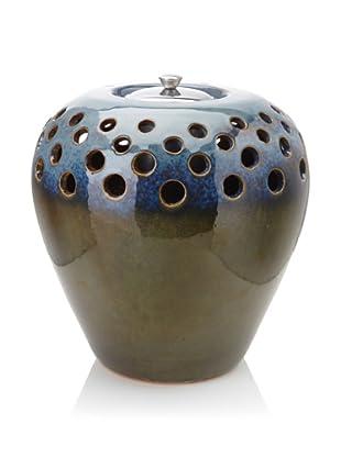 """Pacific Décor Flamepot Vase, Olive Blue, 8.5"""""""