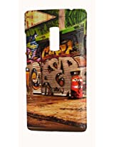 Protective Printed Back cover for One Plus Two ( 1+ 2 ). Print Collection: Multi Colour Abstract Design With Print Embossed Effect