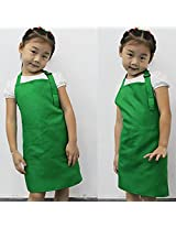 Bright Green Children Kids Apron with Pockets for Painting Cooking Baking