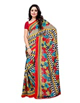 Ambaji Beige & Red Coloured Heavy Renial Georgette Printed Saree