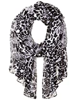 RAMPAGE Women's Watercolor Floral Light Weight Oblong Scarves, Black/White, One Size