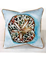 Sand Dollar Decorator Pillow with Blue Water Color Background - 12 X 12 Indoor Outdoor - Marine Fabric - Fade and Mildew Resistant - Includes a Credit Card Sized Tropical Magnet Featuring a Starfish Anchor Palm Tree and Sailboat