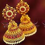 Broad Grand Temple Kemp Red Style Design Pearl Danglers Dulhan Jhumka Buy Online