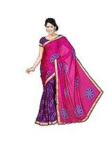 Chandra Silk Mills Women's Art Silk Saree (Pink)