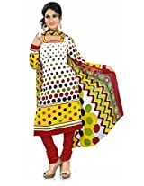Khushali Presents Georgette Chudidar Dress Material(White,Multi,Red)