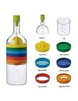 AndAlso Bin 8 Tools in one Bottle Shape Citrus Lemon Juicer Cheese Grater Egg Seperator Bottle Opener Funnel Set Flower Vase for Home Kitchen