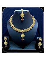 Diva Kundan Purple Indian Bollywood Gold Tone Necklace Earrings Tika Set For Women