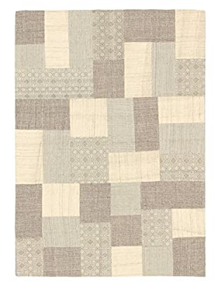 Hand Woven Moldovia Patch Wool Kilim, Cream/Light Grey, 4' 6