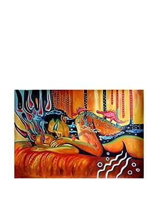 Legendarte Pintura al Óleo sobre Linezo Amore Fantastico Multicolore