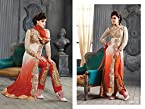 Ruda Biege and Orange Georgette Embroidered Unstiched Salwar Suit DR278