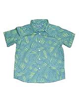 Peach Boys Short Sleeve Green Printed Shirt