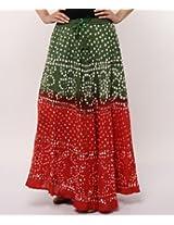 Soundarya Women's Ethnicwear Bandhej Cotton Skirt with Hand work(Orange, Free Size) (Sk-245)