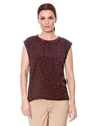 Cortefiel Camiseta Tachitas (Marrón)