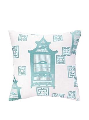 Cococozy Birdcage Toile Pillow (Light Blue)