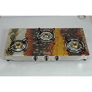 Advanta Premium Vetra Spice 3 Burner Glass top Gas Stove with Automatic Ignition, multicolor
