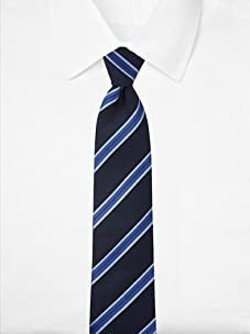 Aquascutum Men's Diagonal Stripe Silk Tie (Navy/Blue)