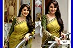 Bollywood designer party wear madhuri dixit lemon saree