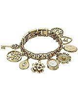 Anne Klein Womens 10-8096CHRM Swarovski Crystal Accented Gold-Tone Charm Bracelet Watch