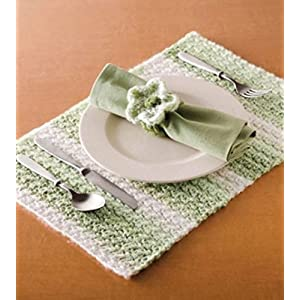 HighKnit Lovely Squared White And Green Table Mat