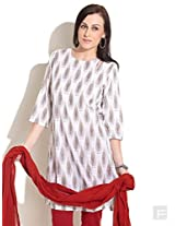 Block Printed Kurta With Cut-Out Neck-White-2L