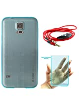 DMG PHNT Premium Scratch-Resistant Ultra Thin Clear TPU Skin Case for Samsung Galaxy S5 (Neon Blue) + 3.5mm Flat AUX Cable with Mic