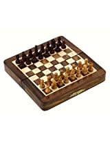 Royaltyroute Wooden Magnetic Folding Board And Chess Pieces Set Travel Game 18 X 18 Cm