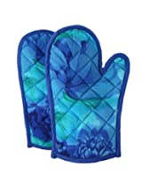 ShalinIndia Cotton Oven Mitts Printed Set of 2 Quilted Cooking Gloves,OG02-6715,Blue,8 x12 Inch