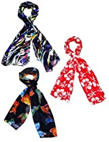 Diwali Gift- Set of three small trendy Stoles, scarf and dupatta multicolored stole for women - BUY SET SAVE SHIPPING