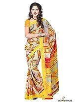 Chiffon Printed Saree In Yellow and Grey Colour