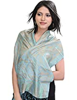 Exotic India Super-Silk Jamawar Scarf with Woven Paisleys - Color Blue And AlmondColor Free Size