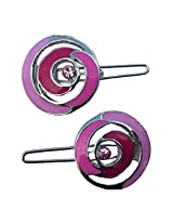 B-Fashionable Pink Spiralling Epoxy Wire Clasp Hair Pin