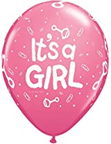 "Pioneer Balloon Company 50 Count Its a Girl Rattle Latex Balloon, 11"", Rose"