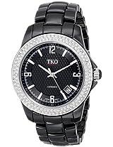 TKO ORLOGI Women's TK577-BK Genuine Ceramic Ice Black Crystallized Bezel Watch