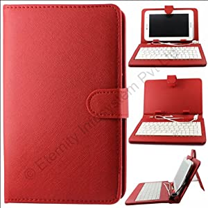 Red QWERTY Keyboard Case Stand for Samsung Galaxy Tab 2 P3100 + OTG + Screen + DMG Wristband