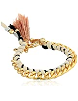 Ettika Cream Leather and Gold Chain Tassel and Toggle Closure Bracelet, 7""