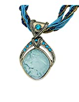 8 Republic London Mother's Day Special Blue Bohemian Beads Rhombus Pendant Necklace For Women