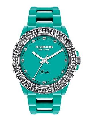 K&BROS 9552-1 / Reloj de Señora  con correa de plástico turquesa